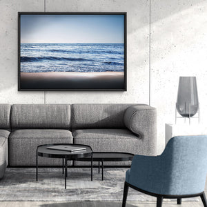 Load image into Gallery viewer, Ocean Vibrance in Blues - Art Print, Stretched Canvas or Framed Canvas Wall Art, Shown framed in a room mockup