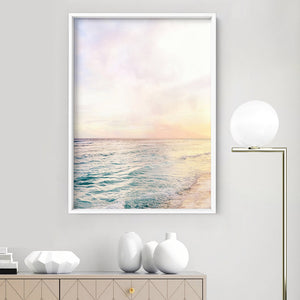 Pastel Bohemian Ocean Views - Art Print, Stretched Canvas or Framed Canvas Wall Art, Shown inside a frame