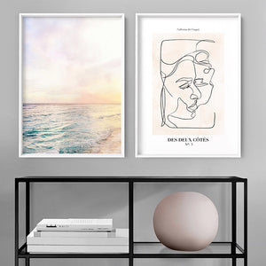 Pastel Bohemian Ocean Views - Art Print, Stretched Canvas or Framed Canvas Wall Art, Shown framed in a room mockup