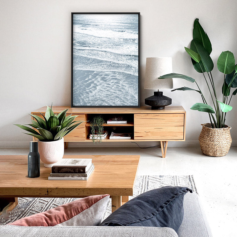 Morning Ocean Alight - Art Print, Stretched Canvas or Framed Canvas Wall Art, Shown inside a frame