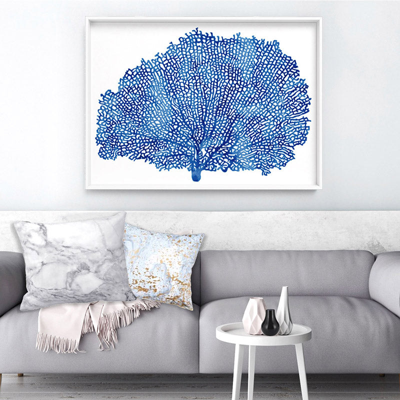 Coral Sea Fan Blue - Art Print, Stretched Canvas, or Framed Canvas Wall Art