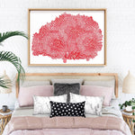 Coral Sea Fan Red - Art Print, Stretched Canvas, or Framed Canvas Wall Art