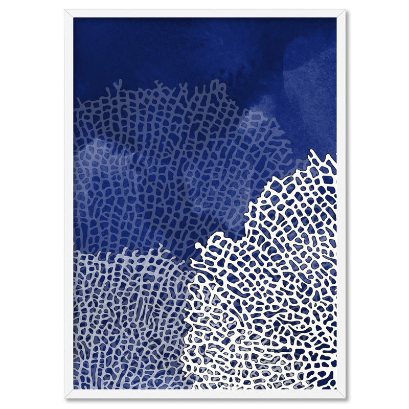Coral Sea Fans Vertical Steel Blue - Art Print, Stretched Canvas, or Framed Canvas Wall Art