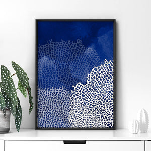 Coral Sea Fans Vertical Steel Blue - Art Print