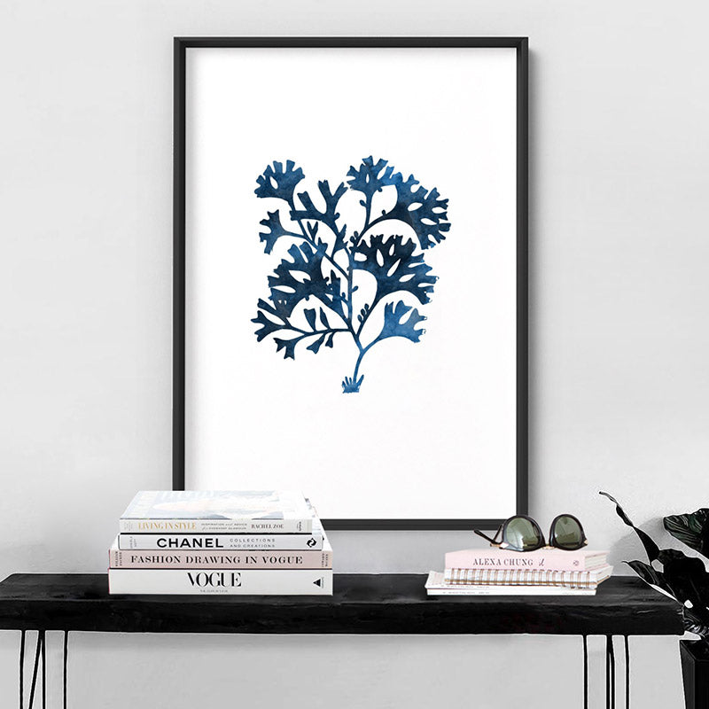 Hamptons Watercolour Blue Coral I - Art Print, Stretched Canvas, or Framed Canvas Wall Art
