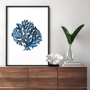 Hamptons Watercolour Blue Coral II - Art Print, Stretched Canvas or Framed Canvas Wall Art, Shown inside a frame