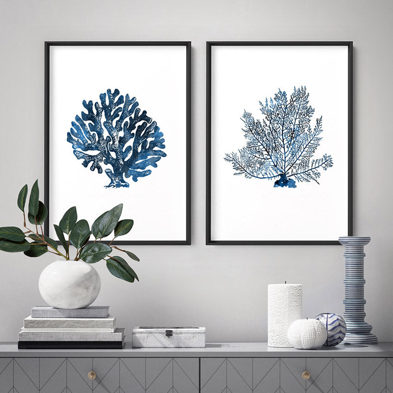 Hamptons Watercolour Blue Coral II - Art Print, Stretched Canvas, or Framed Canvas Wall Art