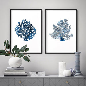 Hamptons Watercolour Blue Coral II - Art Print, Stretched Canvas or Framed Canvas Wall Art, Shown framed in a room mockup