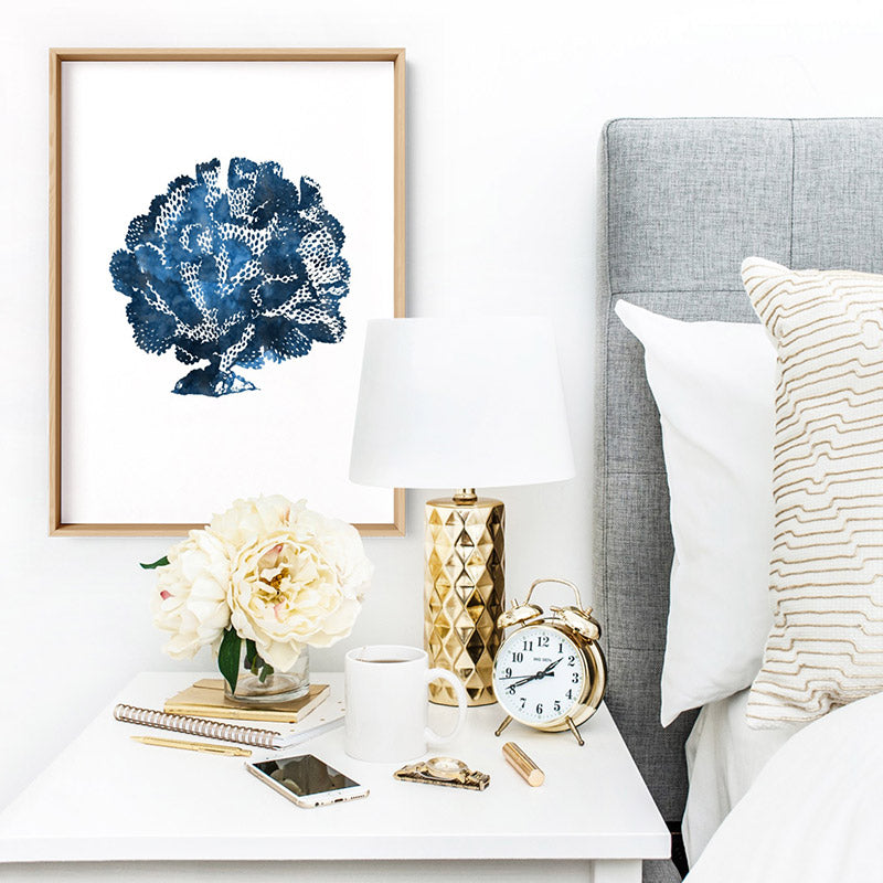 Hamptons Watercolour Blue Coral III - Art Print, Stretched Canvas or Framed Canvas Wall Art, Shown inside a frame