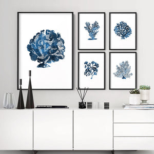 Hamptons Watercolour Blue Coral III - Art Print, Stretched Canvas or Framed Canvas Wall Art, Shown framed in a room mockup