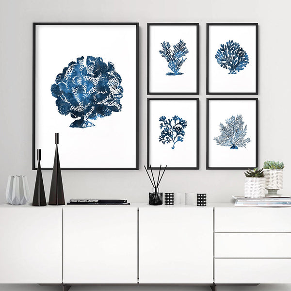 Hamptons Watercolour Blue Coral III - Art Print, Stretched Canvas, or Framed Canvas Wall Art