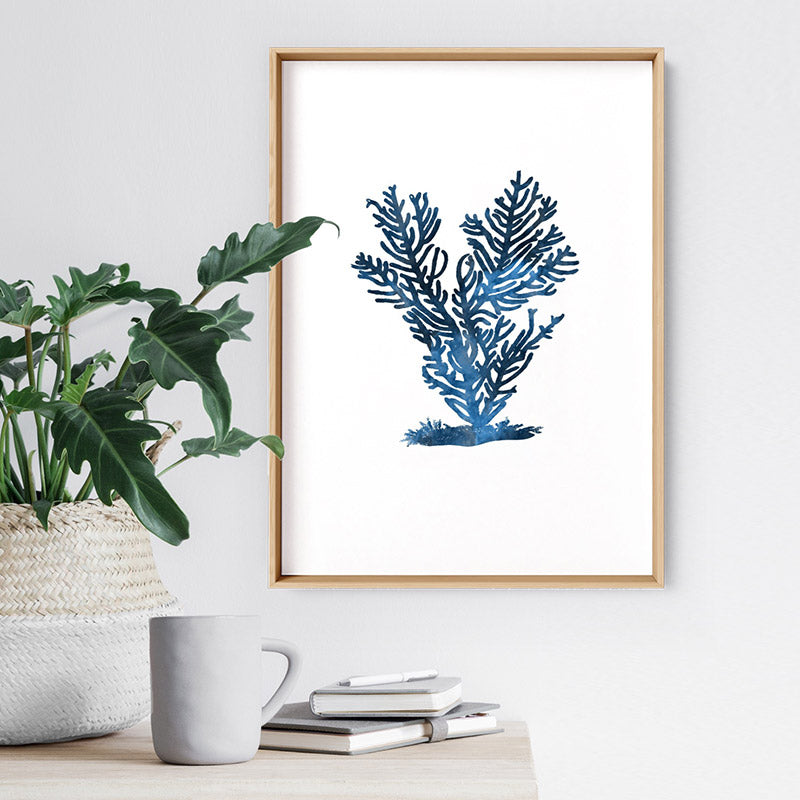 Hamptons Watercolour Blue Coral IV - Art Print, Stretched Canvas or Framed Canvas Wall Art, Shown inside a frame