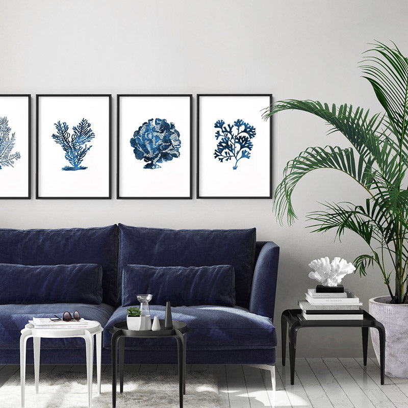 Hamptons Watercolour Blue Coral IV - Art Print, Stretched Canvas or Framed Canvas Wall Art, Shown framed in a room mockup