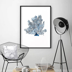 Hamptons Watercolour Blue Coral V - Art Print, Stretched Canvas or Framed Canvas Wall Art, Shown inside a frame