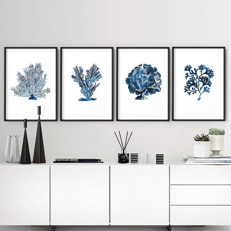 Hamptons Watercolour Blue Coral V - Art Print, Stretched Canvas or Framed Canvas Wall Art, Shown framed in a room mockup