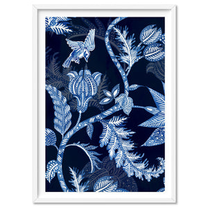 Hamptons Blue Paisley Depths  - Art Print, Stretched Canvas, or Framed Canvas Wall Art