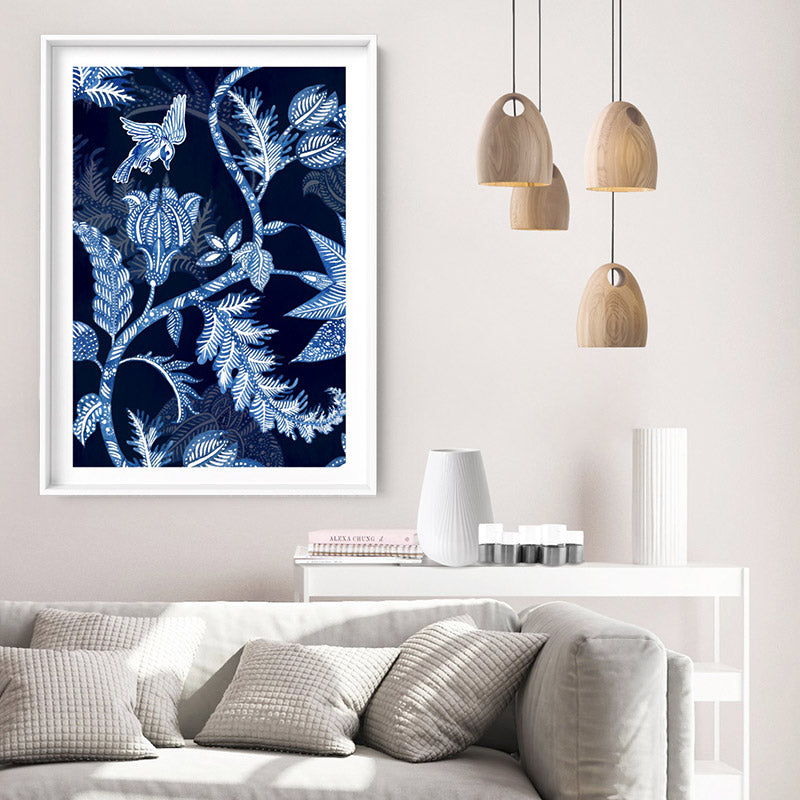 Hamptons Blue Paisley Depths  - Art Print, Stretched Canvas or Framed Canvas Wall Art, Shown inside a frame