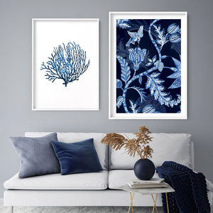 Hamptons Blue Paisley Depths  - Art Print, Stretched Canvas or Framed Canvas Wall Art, Shown framed in a room mockup