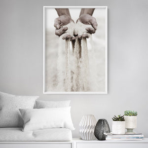 Sand Falling through Hands - Art Print, Stretched Canvas or Framed Canvas Wall Art, Shown inside a frame