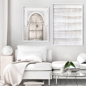 White on White Palm Tree Texture  - Art Print, Stretched Canvas or Framed Canvas Wall Art, Shown framed in a room mockup