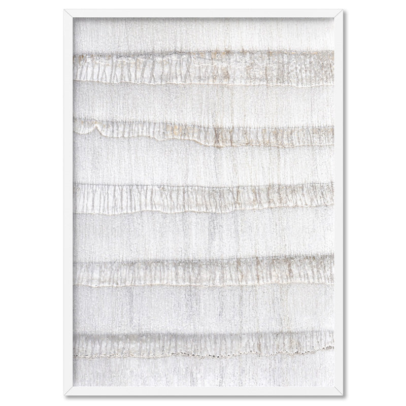 White on White Palm Tree Texture  - Art Print