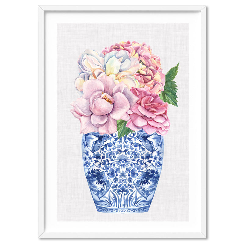 Floral Ginger Jar on Linen I - Art Print