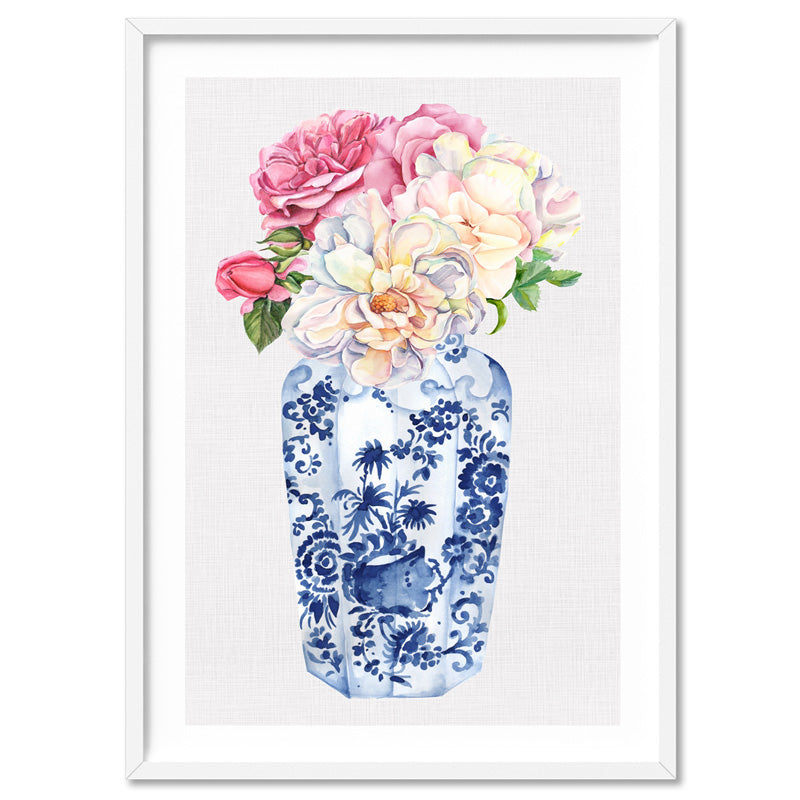 Floral Ginger Jar on Linen II - Art Print