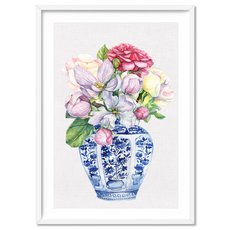 Floral Ginger Jar on Linen III - Art Print