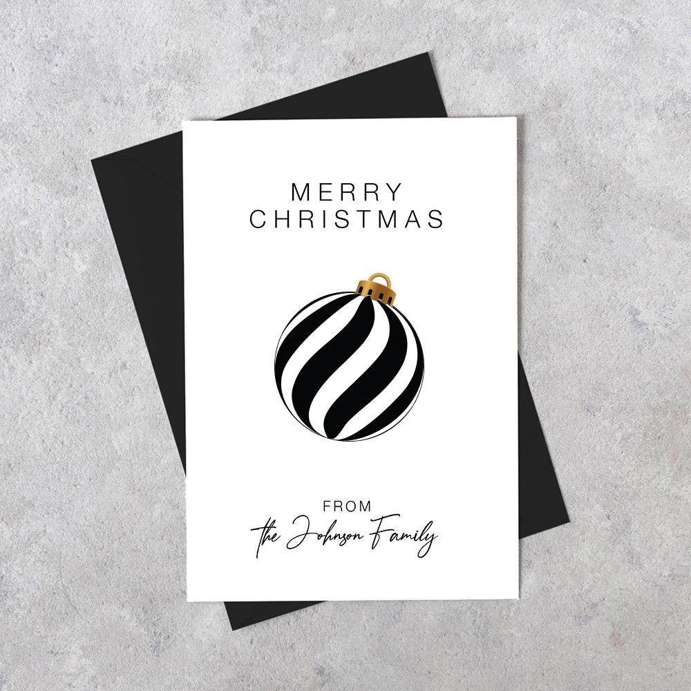 Custom Personalised Christmas Card - Snowflake Stripes