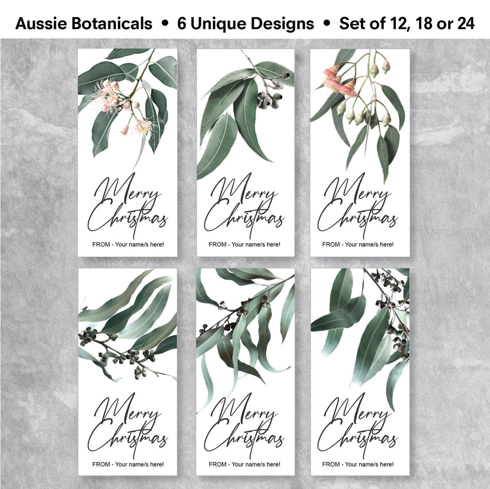 Christmas Gift Sticker featuring australian native botanicals - showing 6 designs you will receive in a set of 12, 18 or 24.