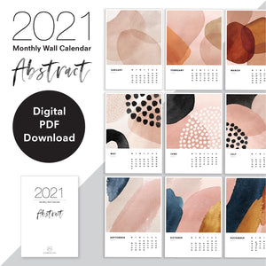 2021 Monthly Calendar | Abstract - Digital PDF Download or Printed