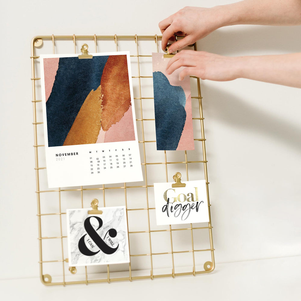 2021 Monthly Calendar | Shown hung on a wire memo board with other prints
