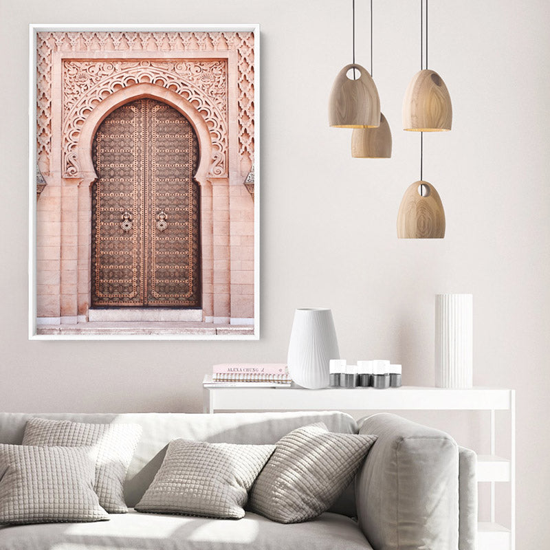 Moroccan Doorway in Blush - Art Print, Stretched Canvas or Framed Canvas Wall Art, Shown inside a frame