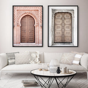 Moroccan Doorway in Blush - Art Print, Stretched Canvas or Framed Canvas Wall Art, Shown framed in a room mockup