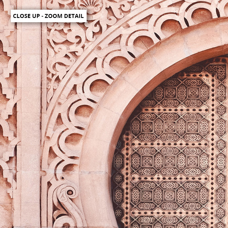 Moroccan Doorway in Blush - Art Print, Stretched Canvas or Framed Canvas Wall Art, Close up View of Print Resolution