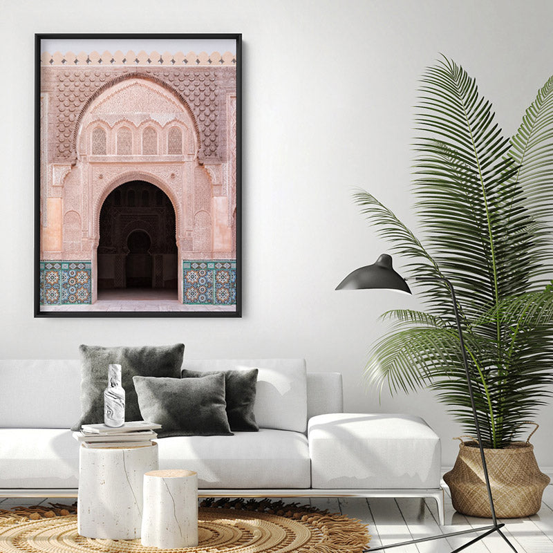 Ornate Moroccan Doorway in Blush & Teals - Art Print, Stretched Canvas or Framed Canvas Wall Art, Shown inside a frame