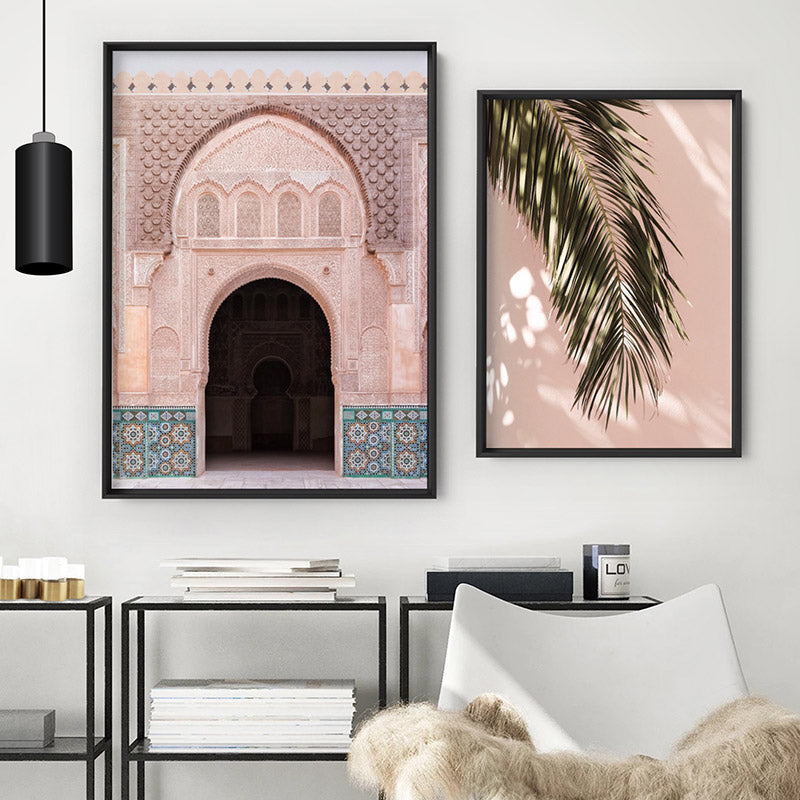 Ornate Moroccan Doorway in Blush & Teals - Art Print, Stretched Canvas or Framed Canvas Wall Art, Shown framed in a room mockup