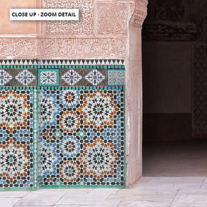 Ornate Moroccan Doorway in Blush & Teals - Art Print, Stretched Canvas or Framed Canvas Wall Art, Close up View of Print Resolution
