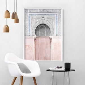 Pastel Arch Fountain Morocco - Art Print, Stretched Canvas or Framed Canvas Wall Art, Shown inside a frame