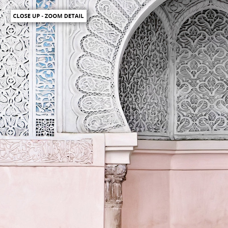 Pastel Arch Fountain Morocco - Art Print, Stretched Canvas or Framed Canvas Wall Art, Close up View of Print Resolution