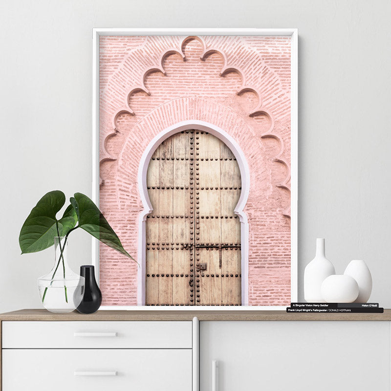 Blushing Arch Doorway Marrakech - Art Print, Stretched Canvas or Framed Canvas Wall Art, Shown inside a frame