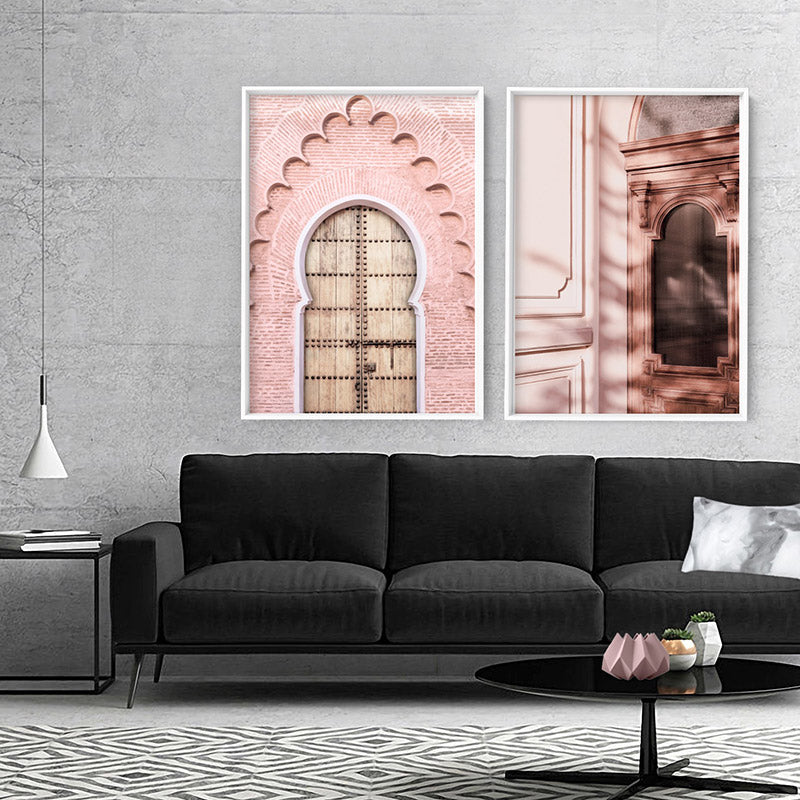 Blushing Arch Doorway Marrakech - Art Print, Stretched Canvas or Framed Canvas Wall Art, Shown framed in a room mockup