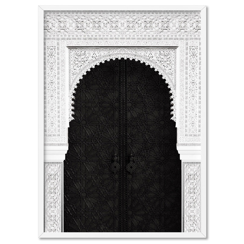 Ornate Moroccan Doorway in Black & White - Art Print