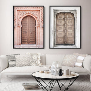 Jaipur Carved Wooden Door in Neutrals - Art Print, Stretched Canvas or Framed Canvas Wall Art, Shown framed in a room mockup