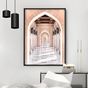Moroccan Arch Entryway in Blush - Art Print, Stretched Canvas or Framed Canvas Wall Art, Shown inside a frame