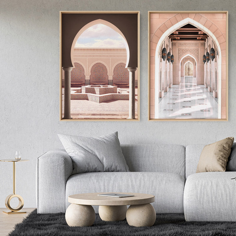 Moroccan Arch Entryway in Blush - Art Print, Stretched Canvas or Framed Canvas Wall Art, Shown framed in a room mockup