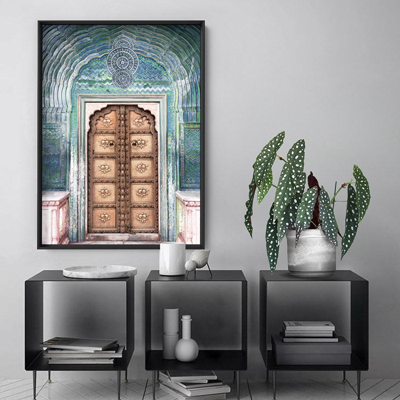 Peacock Doorway in Jaipur City Palace - Art Print, Stretched Canvas or Framed Canvas Wall Art, Shown inside a frame