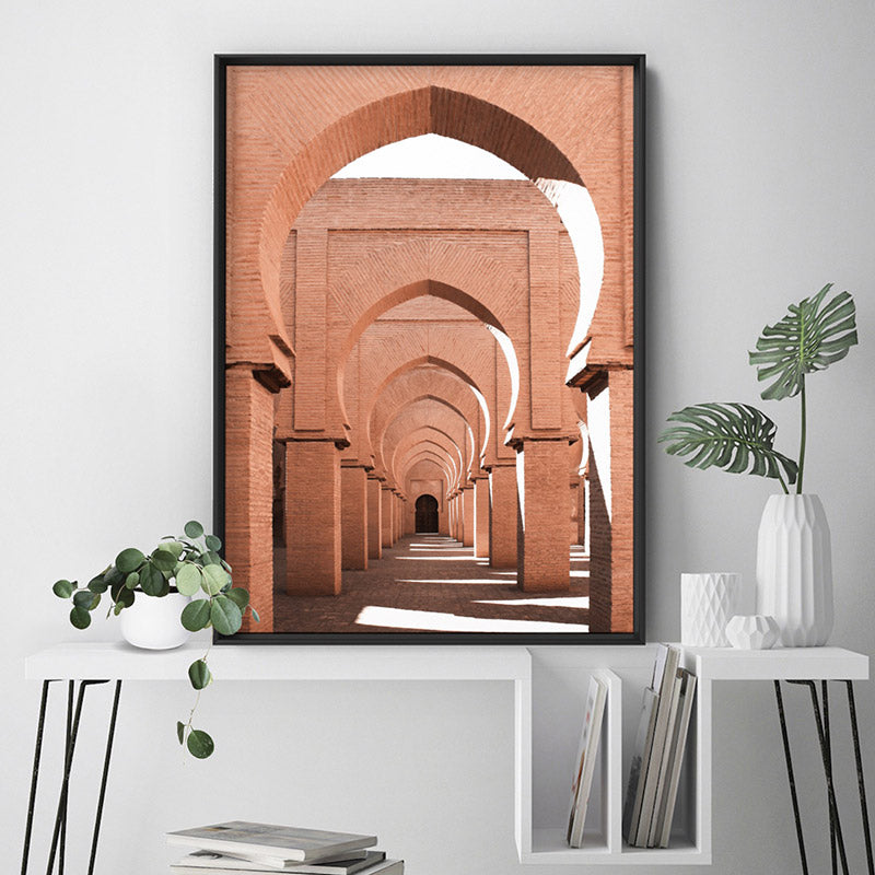 Orange Desert Arches, Tinmel Morocco - Art Print, Stretched Canvas or Framed Canvas Wall Art, Shown inside a frame
