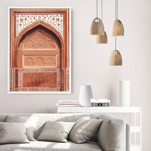 Burnt Orange Arch Old Jaipur - Art Print, Stretched Canvas or Framed Canvas Wall Art, Shown inside a frame