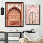 Burnt Orange Arch Old Jaipur - Art Print, Stretched Canvas or Framed Canvas Wall Art, Shown framed in a room mockup